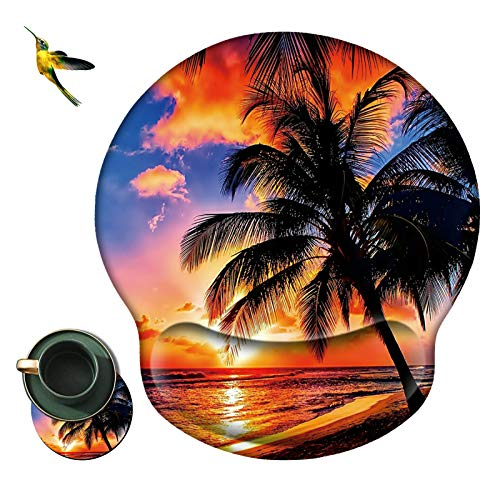 Mouse Pad with Wrist Support Rest,Rossy Beach with Palm Trees Design Ergonomic Gaming Mousepad Non-Slip Rubber Base Wrist Cushion for Office Computer Laptop + Cup Coasters and Cute Sticker