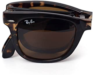 Ray-Ban RB4105 Folding Wayfarer Icons Sportswear Sunglasses/Eyewear - Demi Brown/B-15 XLT / Size 50mm