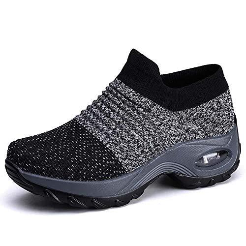 XDlyou Zapatos Deporte Mujer Mesh Transpirable Comodas Deportivas Correr Gimnasio Casual Zapatos Ligero Zapatos para Caminar Aumentar Más Altos Sneakers,Gray-41EU
