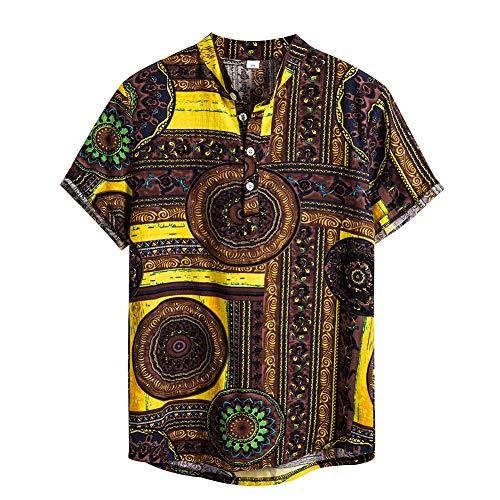 NEWISTAR Leinen Hemden Herren Loose Fit Kurzarm Freizeithemd Lässig Sommer Henley Shirt Ethnische Kleidung Herren