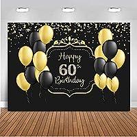 ZPC 7X5FTハッピー60歳の誕生日パーティーの写真撮影の背景黒背景大人60歳の誕生日パーティーバナーキラキラゴールドドット風船お祝いPhotobooth小道具G1L2025