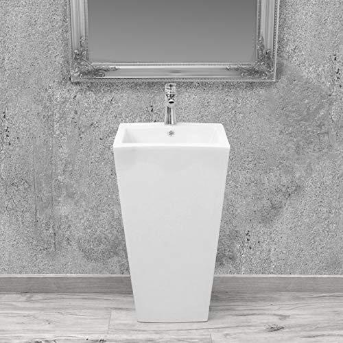 GT-LUX Lavabo lavandino lavello a colonna da appoggio a terra in ceramica bianca quadrato | rotondo ovale (Quadrato)