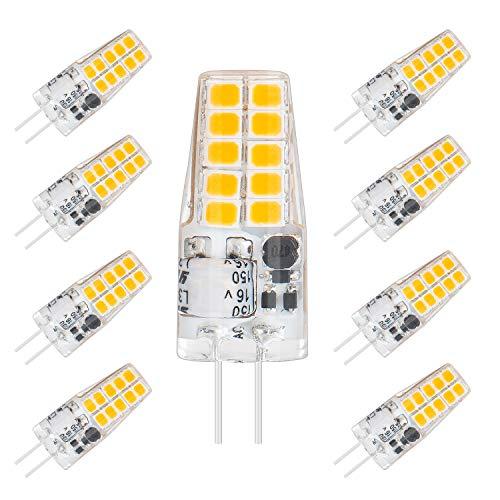 ISUDA G4 LED Lampen Warmweiß 3000k Lampe,3W 320 Lumen Kein Flackern,12V AC/DC LED G4 Kapselbirnen Ersatz 30W Halogenlampen,360°Abstrahlwinkel LED Birnen,8er Pack