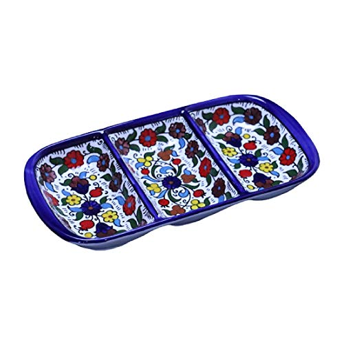 Hebron Arts Ceramic Serving Divided Plate | Hand-Painted Floral Ceramic 3 Section Divided Dish | Palestinian Ceramic Plate | Dishwasher and Microwave Safe (Colorful Garden) (3 Section Ceramic)