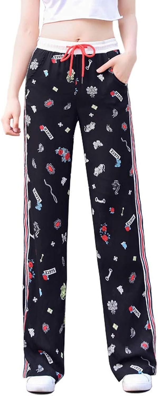 bluenkblueme Women's Comfy Floral Print Lounge Pants Drawstring Palazzo Baggy Pajama Pant