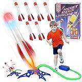 Herefun Cohete Juguete Niños, Juguete Cohete de Aire con 3 Cohetes de Espuma, Lanzador de Cohetes de Juguetes, Juguetes de Juegos de Jardín Aire Libre, Juguete Cohete Regalo para Niño Niña (6pcs)