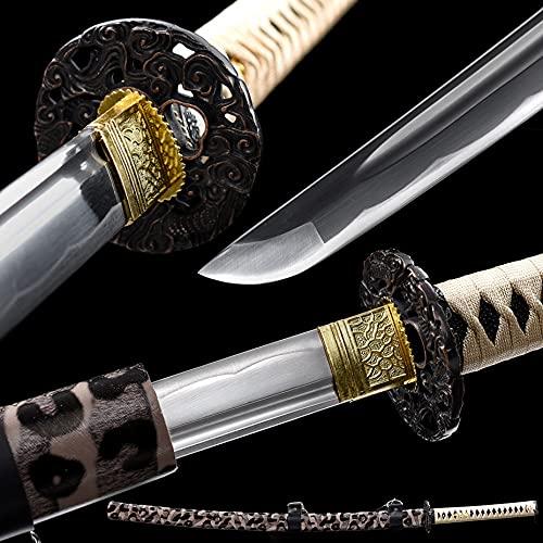 Sword Handmade Japanese Samurai Sword Katana One Piece 1045 High Carbon Steel Katana Sword,Sharp,White (Ruilong)