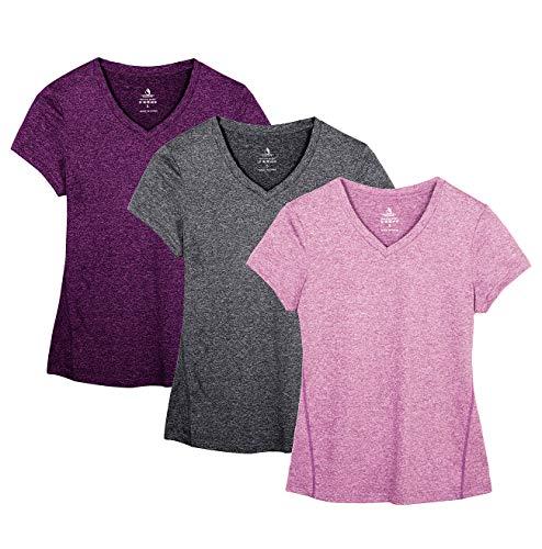 icyzone T-Shirts de Sport Femme à Manche Courtes Tops et col en V Fitness Yoga Tee, Paquet de 3 (XL, Charcoal/Red Bud/Pink)
