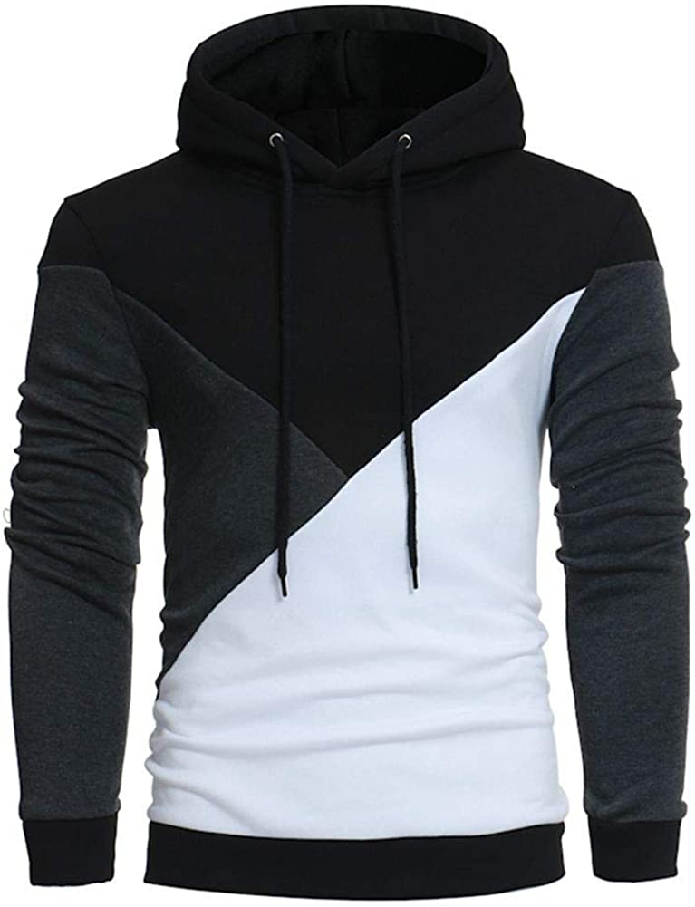 Hoodies for Men, Misaky Casual Colorblock Patchwork Long Sleeve Pullover Hooded Sweatshirts Junmper Tops Shirts