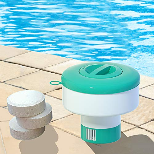 "POOLWHALE Pro Pool Chemical Dispenser Offers Strong Floating Chlorine Dispenser for Indoor & Outdoor Swimming Pools, Up to 3"" Bromine Tablet Holder, Also Usable as a Spa Chemical Dispenser"