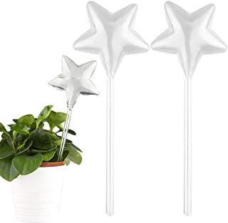Tomorotec 2-Pack Star-Shaped Clear Glass Plant Self Watering Globes, Automatic Watering Stakes Aqua Bulbs for Indoor and O...