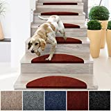 casa pura Stair Treads | Non-Slip Indoor Stair Protectors | Set of 15 Modern Step Mats for Hard Floor Staircase | Beige - 10' x 26'