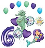 Mermaid Wishes and Seahorse 6th Birthday Party Supplies Balloon Bouquet Decorations