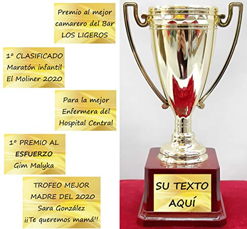 dolarestore Copa Trofeo con Textos Personalizados Especial para Regalo Base imitación Madera 13x20cm