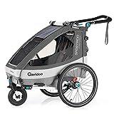 Qeridoo Sportrex1 (2020/2021) Fahrradanhänger Kinder, 1 Sitzer, Federung - Grau