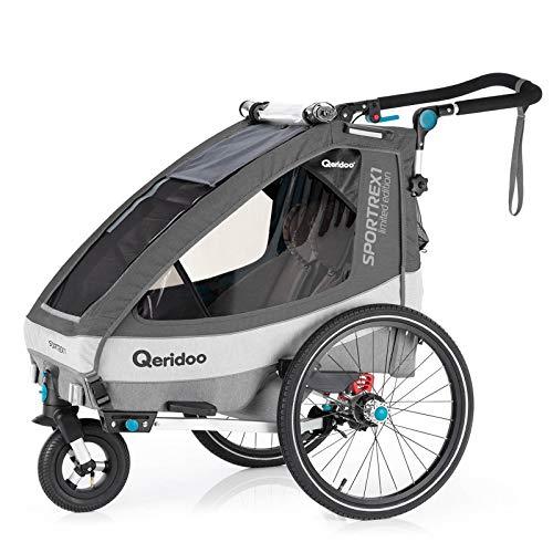 Qeridoo Sportrex1 Fahrradanhänger Kinder, 1 Sitzer, einstellbare Federung