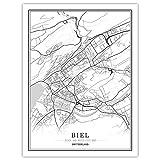 NBHHDH Leinwand Bild,Nordic Schweiz Biel Stadt Drucken
