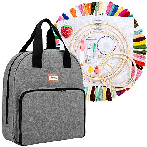 CURMIO Embroidery Starter Kit, Cross Stitch Tools Kit with Storage Bag, 100 Colors Threads, 5 Embroidery Hoops, 3 Aida Cloth and Other Embroidery Tools, Ideal for Embroidery Beginner and Lover, Grey