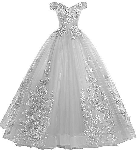 Ballkleider Lang Vintage Brautkleid Hochzeitskleid Damen Prinzessin Quinceanera Kleider A-Linie Silber EU54