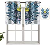 Hiiiman Cenefa corta recta, con plumas de corona, juego de 2, 42 x 24 pulgadas para ventanas de cocina