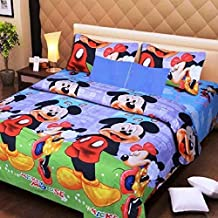 Home Stylish New Premum Cotton Cartoon Printed 144TC Double bedsheet with 2Pillow Cover Micky Mouse D1 Print