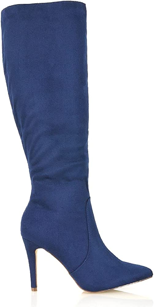 Womens Stiletto High Heel Boots Ladies Winter Pointed Toe Calf Knee Zip Faux Suede