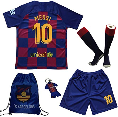 BIRDBOX Youth Sportswear Barcelona Leo Messi 10 Kids Home Soccer Jersey/Shorts Bag Keychain Football Socks Set (Home (New), 9-10 Years)