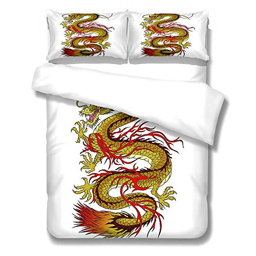 YLWMBB Duvet Cover Set Chinese dragon 3D Printed Reversible Duvet Cover Set Wrinkle Free Quilt Cover Cover Bedding with 2 Pillowcases and Zipper Closure 260x220cm