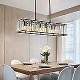Moooni Vintage Rectangular Crystal Chandelier Industrial Rectangle Pendant Light Fixture for Kitchen Island Dining Room Black L 33.5' x W 8.7' x H8.7'