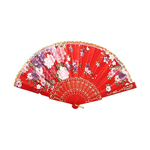 FeiFei66 Fashion Best Chinese Style Dance Wedding Party Lace Silk Folding Hand Held Flower Fan (Red)