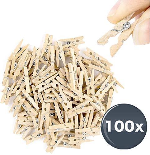TK Gruppe Timo Klingler 100x Miniklammern - Größe 25 mm Mini Klammer Wäscheklammern Holzklammer aus echten Holz (100x)