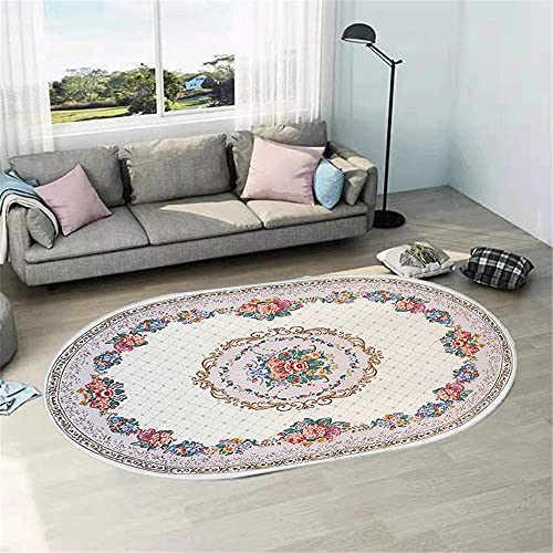 WCCCW Color Flores Tradicional étnico patrón Arte óvalado Sala de Estar sofá Mesa de café salón decoración alfombra-50x80cm Suave Moderna Alfombra Antideslizante Alfombra