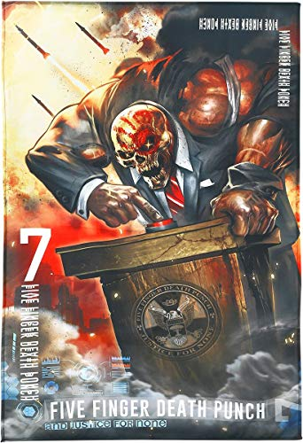 Five Finger Death Punch and Justice for None Poster en Tissu Multicolore