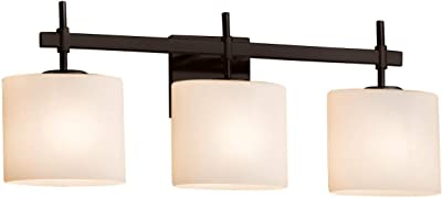 Justice Design Group Lighting ALR-8432-30-MBLK Regency 2-Light Bath Bar-Oval Shade-Matte Black-Alabaster Rocks