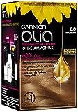 Garnier Haar Coloration, Haarfarbe, Färbung für Haare mit 60% Blumen-Ölen für intensive Farbkraft, Ohne Ammoniak, Olia, Blond 8.0, 3 x 1 Stück