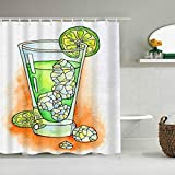 Minalo Shower Curtain,Orange Bar Cocktail Glass Beverage Ice Cube Slice Gin Alcohol Food Drink Champagne Citrus Cold Cool,Personalized Decor Bathroom Curtain,72 x 72