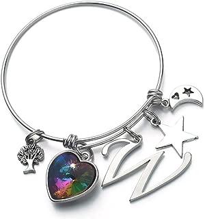 Initial Charm Bracelets for Women, Heart Crystal Charm Bracelet Bangle Bracelets for Girls, Stainless Steel Expandable Wire Bangle Bracelet Tree of Life Bracelet Moon Charm Bracelet for Women