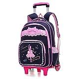 Trolley Bag Fille Cadeaux Rentrée Scolaire Sac à Dos avec roulettes Cartable Roulette Bagages...