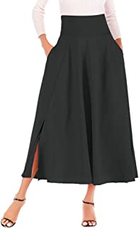 UOFOCO Skirts for Women Maxi Skirt High Waist Pleated A Line Long Front Slit Belted
