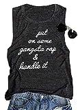 Put On Some Gangsta Rap Handle It Tank Top Graphic Tees Summer Cotton Vest Size L (As Show)