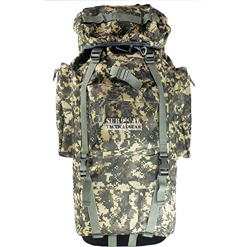 ZAPT 65L Tactical Backpack Military Army Waterproof Giant Hiking Camping Trekking Rucksack Bag Internal Frame Camo Packs With Rain Cover (ACU)