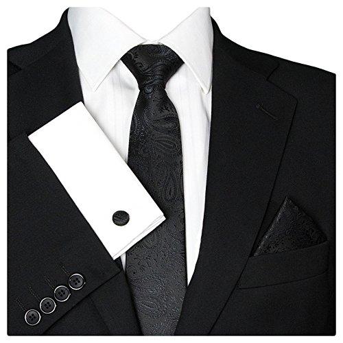 GASSANI Herrenkrawatte Schmal Paisley-Muster, Schwarze Hochzeitskrawatte Gemustert, Einstecktuch Manschettenknöpfe Z. Hochzeits-Anzug Weste Sakko