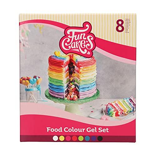 FunCakes Multipack Colorantes Gel Set/8: Colorante alimentario altamente concentrado para masa, crema, fondant, mazapán, masa. Fácil de dosificar. 8 Colores