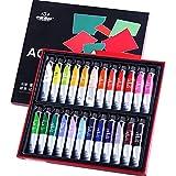 N\C Juego de Pintura acrílica de Tubo de 12/24 Colores y 20 ml, pigmentos de Dibujo para niños, Ropa, Revestimiento Textil, Suministros artísticos adecuados para Principiantes y Artistas