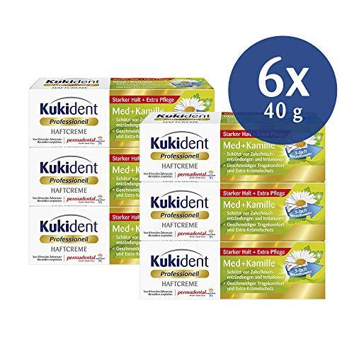 Kukident Haftcreme Med+Kamille Zahnreiniger für das Gebiss, 6er Pack (6 x 40 g)