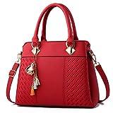 FOLLOWUS Borse da donna in pelle PU con manico superiore, Rosso vinaccia (Rosso) - G72416A