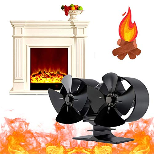 HUILING 8 Blades Stove Fan, Heat Powered Stove Fan Ecological Conservation Fireplace Fan Household Wood Burner Winter Heater Circulation Fire Heat Fan