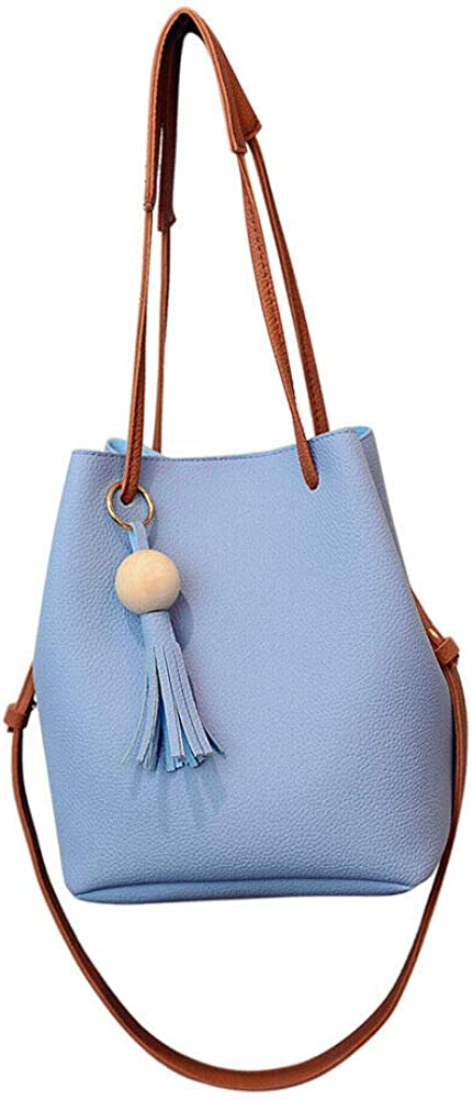 Women's Women's PU Leather Hobos Bag, Fashion Tassel buckets Tote Handbag Shoulder Bag Tote