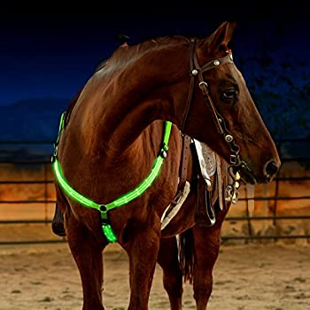 LED Horse Breastplate Collar - USB Rechargeable - Best High Visibility Tack For Horseback Riding - Adjustable Sturdy & Comfortable Hi-Viz Equestrian Safety Gear - Makes Your Horse Visible and Seen