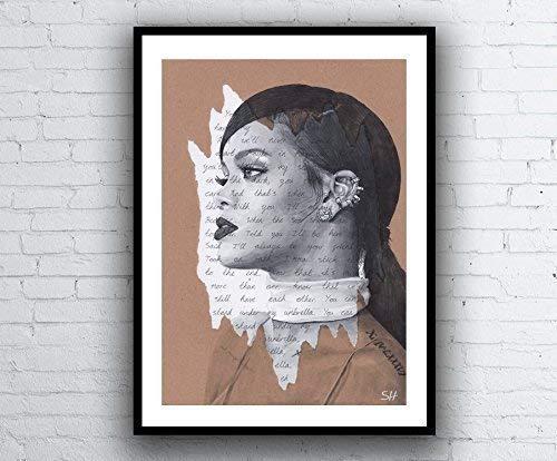 Rihanna Portrait Drawing - Giclée art print with Umbrella Lyrics - A5 A4 A3 Sizes limited edition artwork